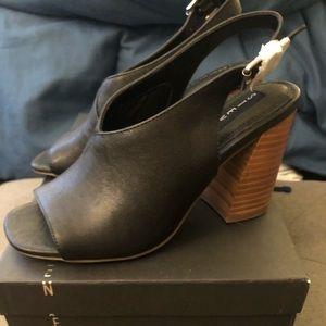 Steven black leather sling back sandals